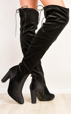 Fawn Velour Knee High Boots