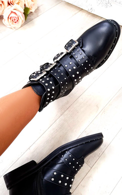 Aria Studded Buckle Ankle Boots