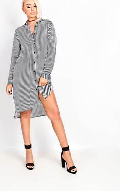Kaydee Black Stripe Shirt Dress
