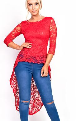 Polly Crochet Lace Dip Hem Top
