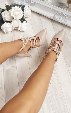 Millia Multi Strap T-Bar Studded Court Heels