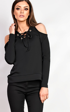 Hettie Eyelet Lace Up Cold Shoulder Top