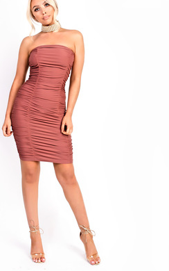 Calia Slinky Ruched Strapless Bodycon Dress