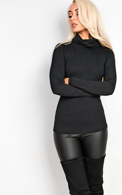Payton High Neck Ribbed Top