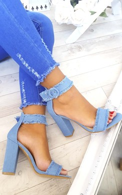 Lezzia Denim Frayed Sandal Block  Heels