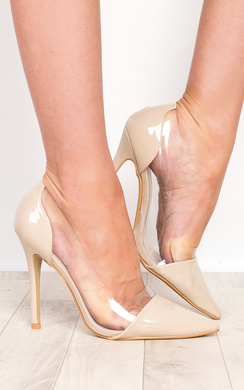 Milly Nude Patent Clear Panel Court Heels