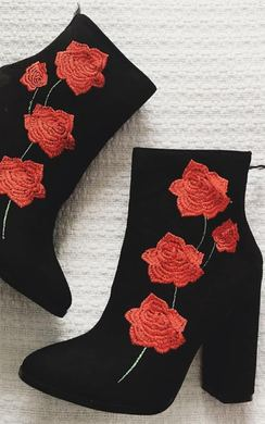 Niamh Floral Faux Suede Heeled Ankle Boots