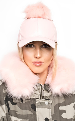 Riley Pompom Leather Hat