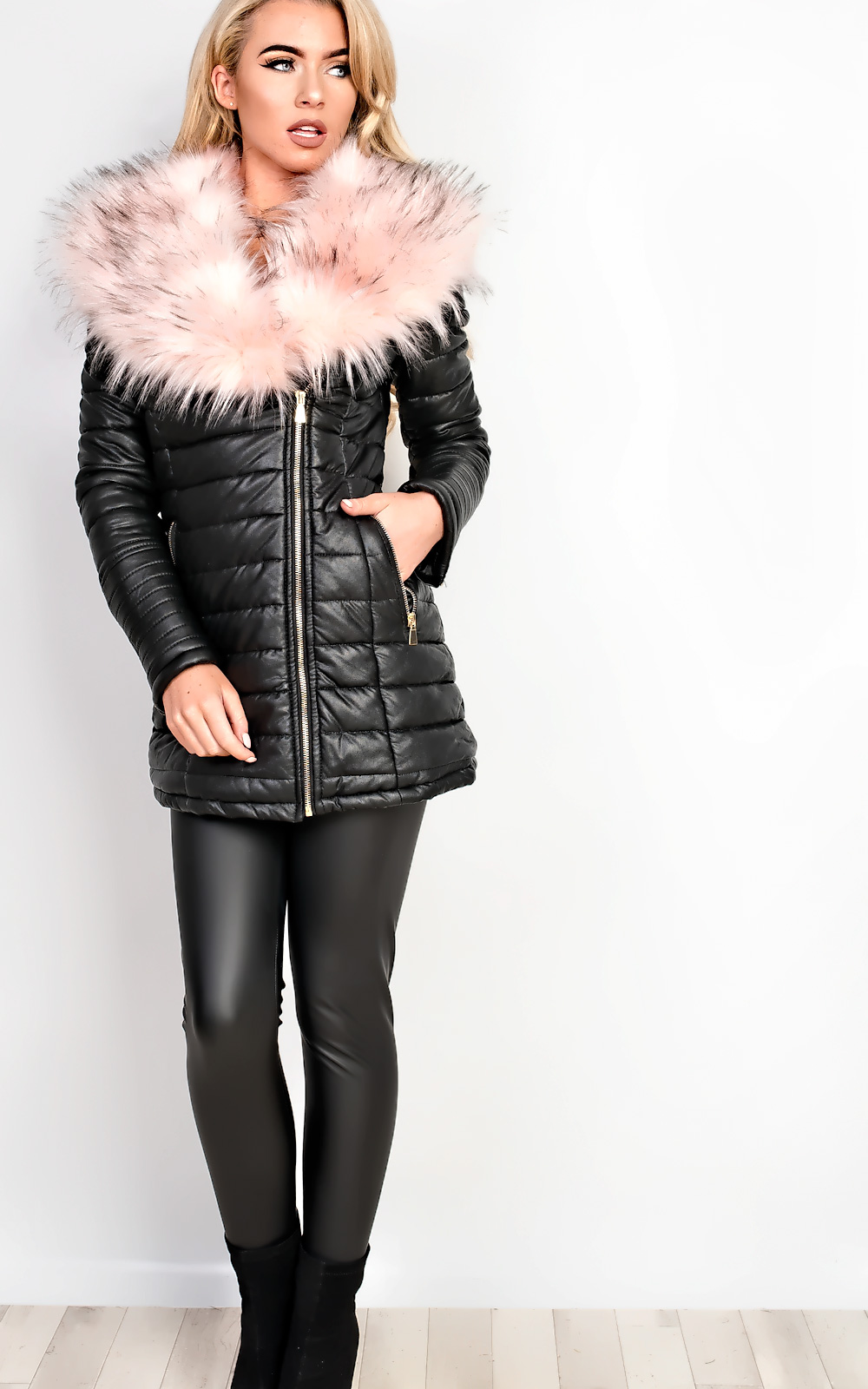 Women's Ladies Faux Fur Collar Padded Leather Jacket