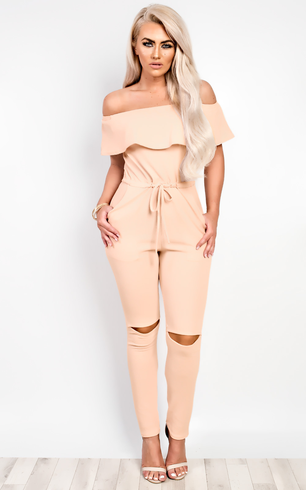 Ruby Off Shoulder Jumpsuit in Nude