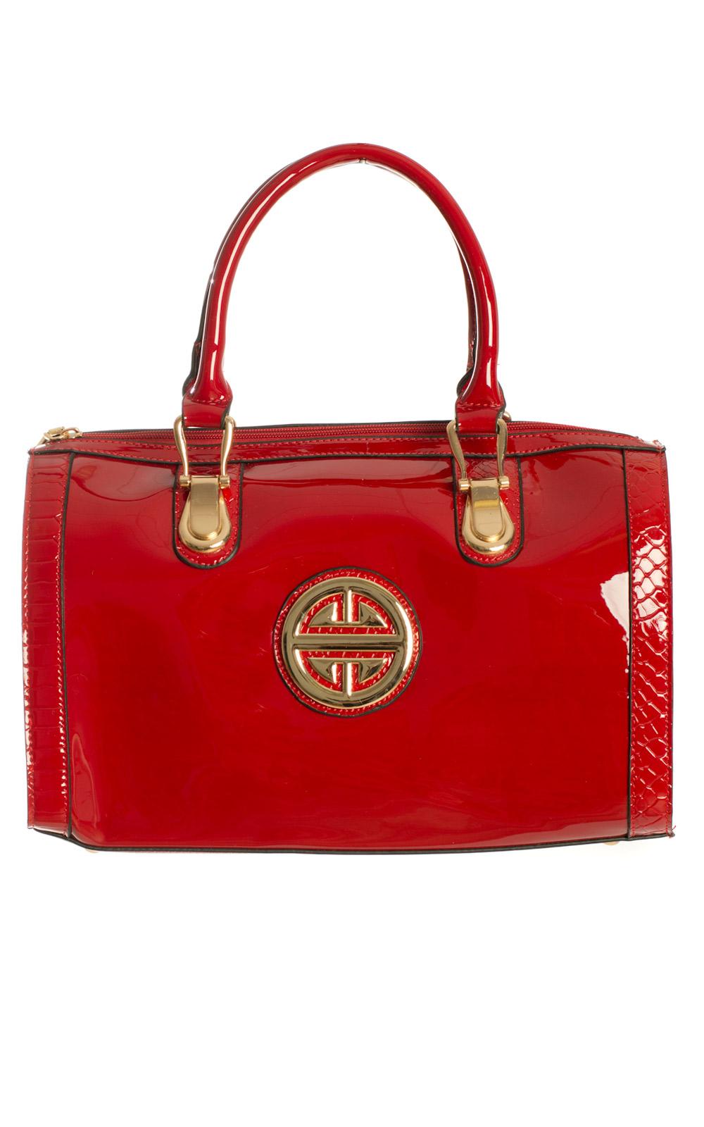iKrush Bryn Patent Style Gold Detail Handbag