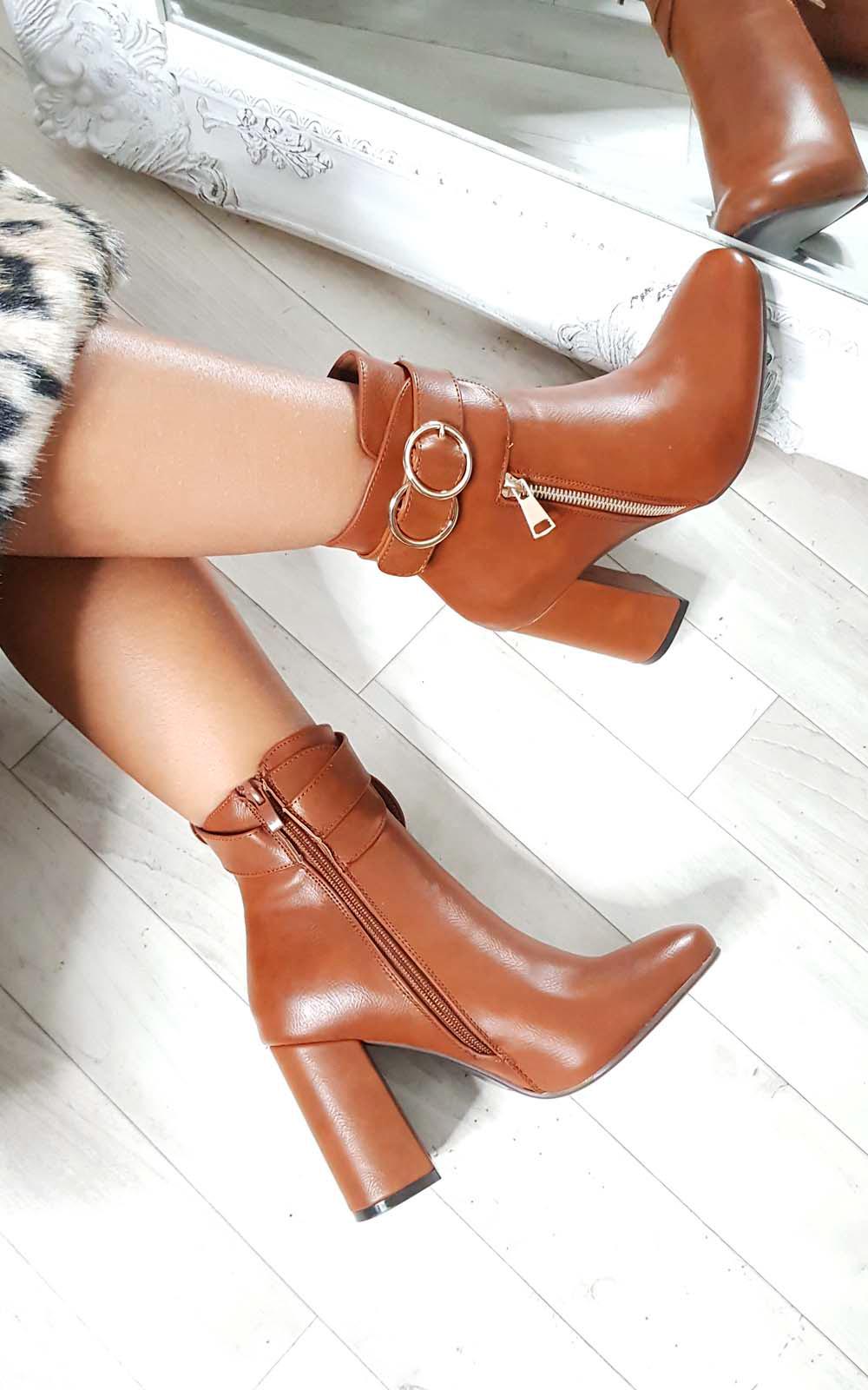 IKRUSH Womens Tiara Hoop Zip Ankle Boots