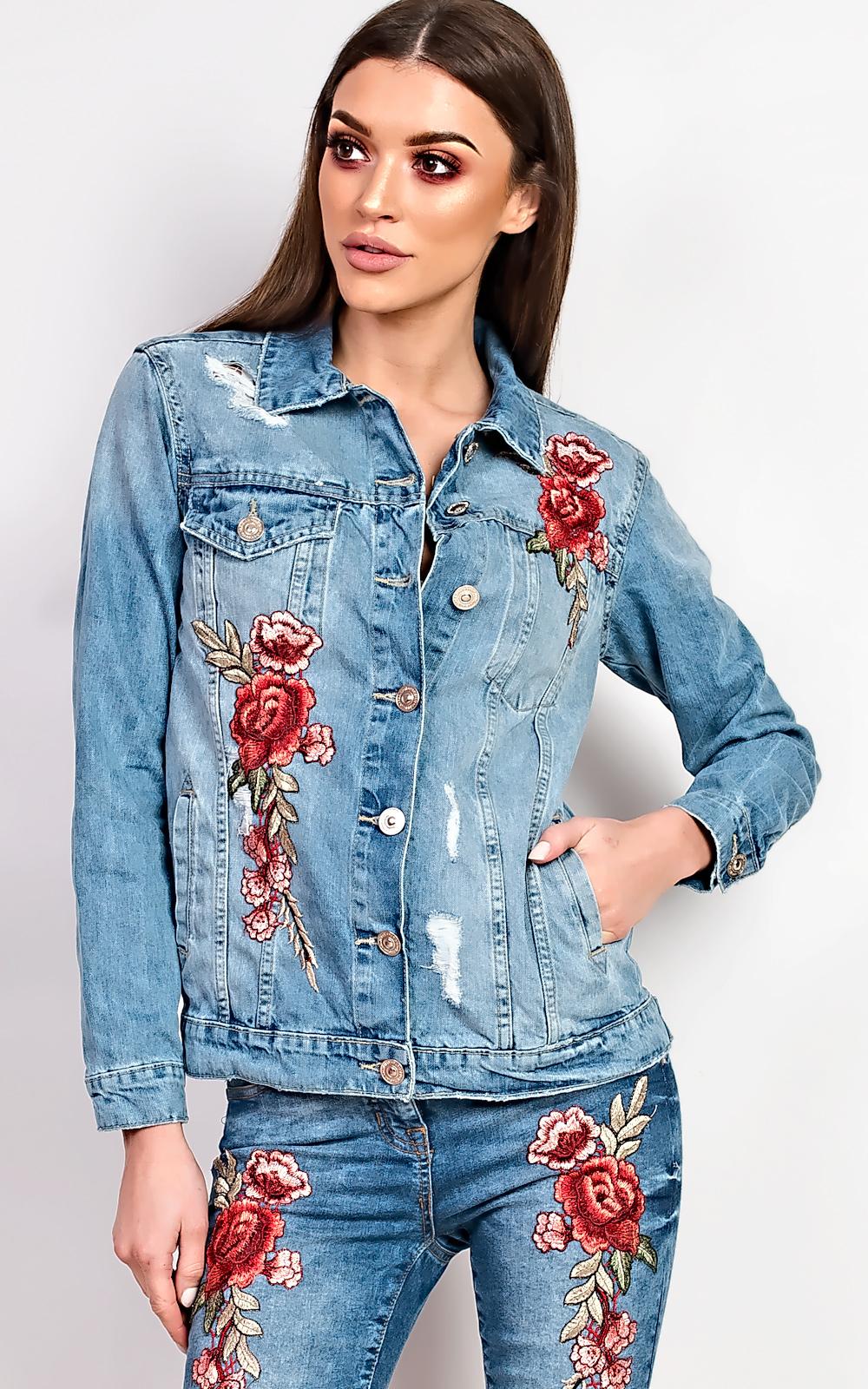 Women s ladies gorgeous glam embroidered denim jacket ebay