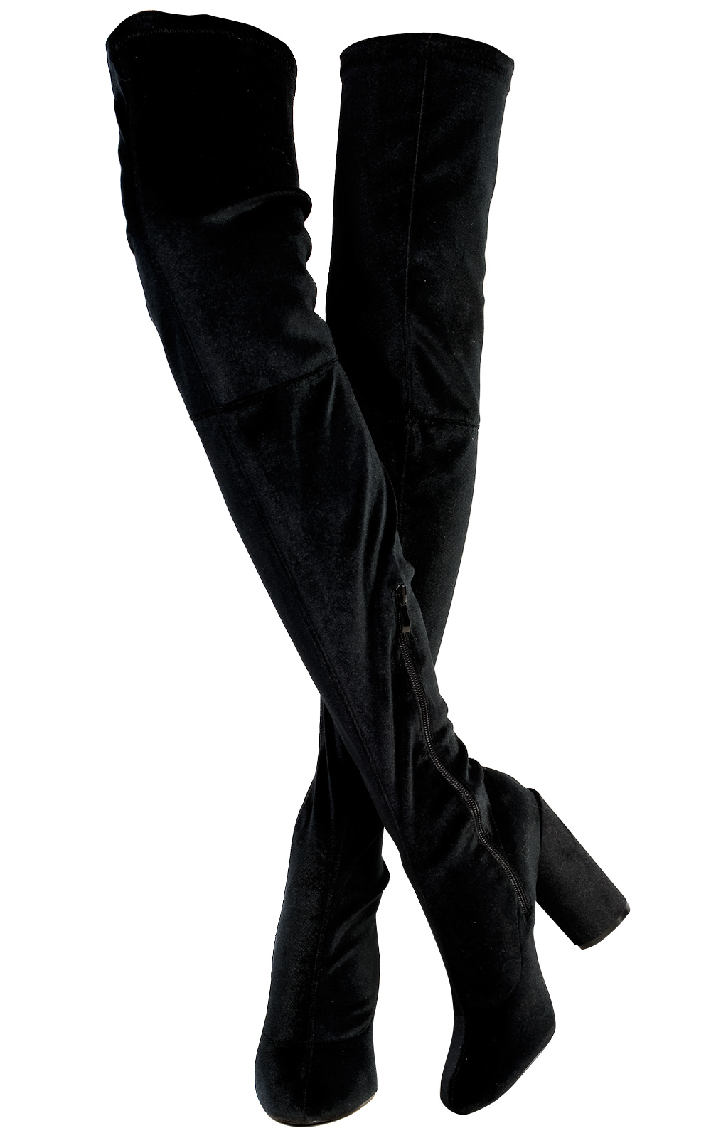 IKRUSH Womens Selicia Velour Knee High Boots