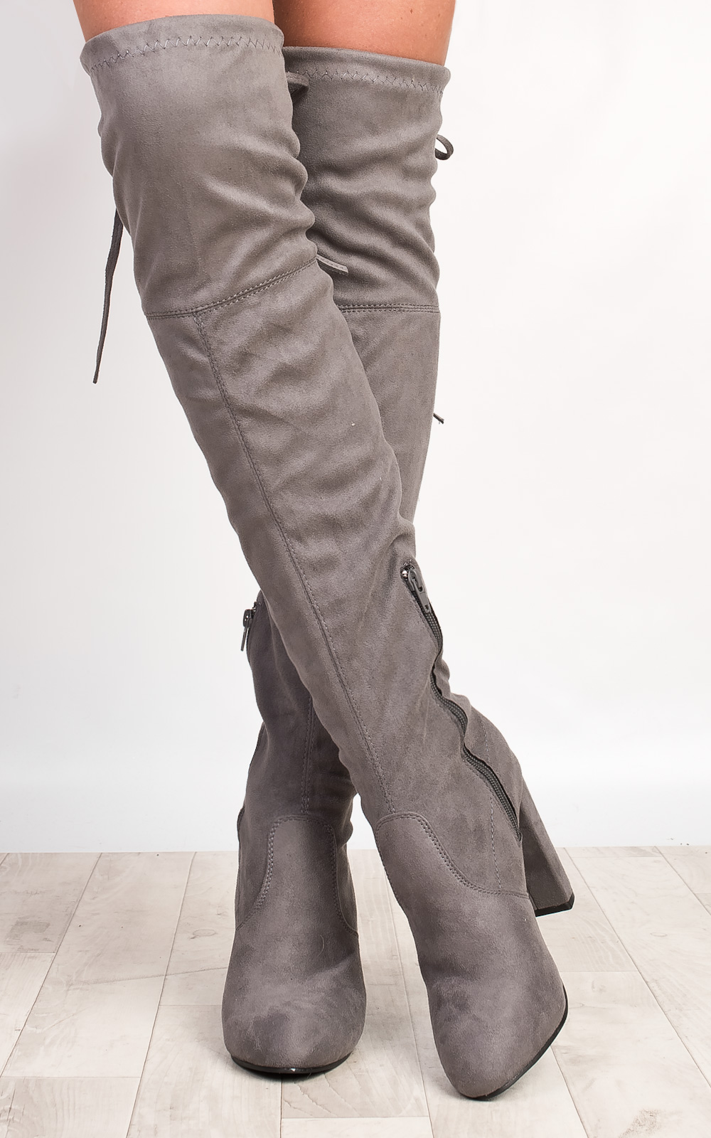 iKrush Annie Faux Suede Knee High Boots