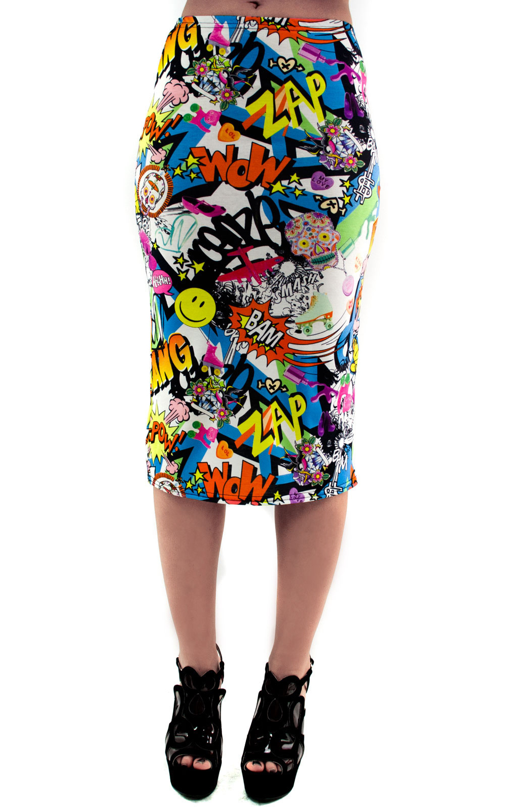 iKrush Aanya Comic Print Midi Skirt