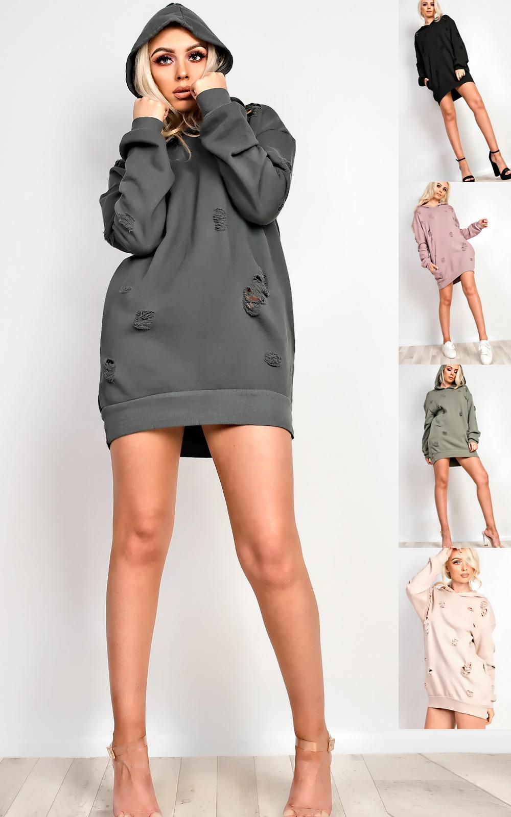 Women's Ladies Stunning Distressed Oversized Jumper Dress | eBay