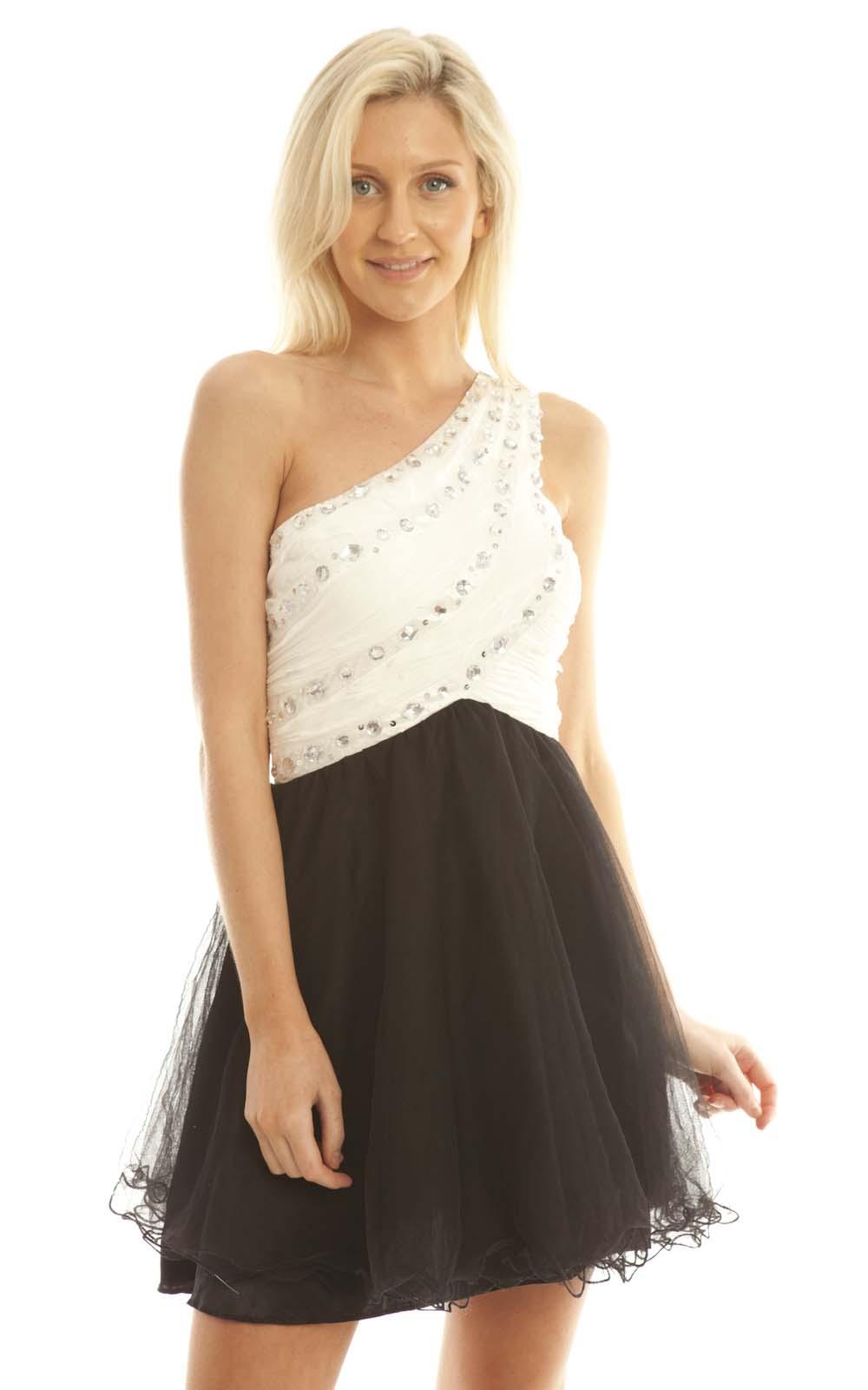 iKrush Abelia Black and White One Shouldered Embellished Prom Dress