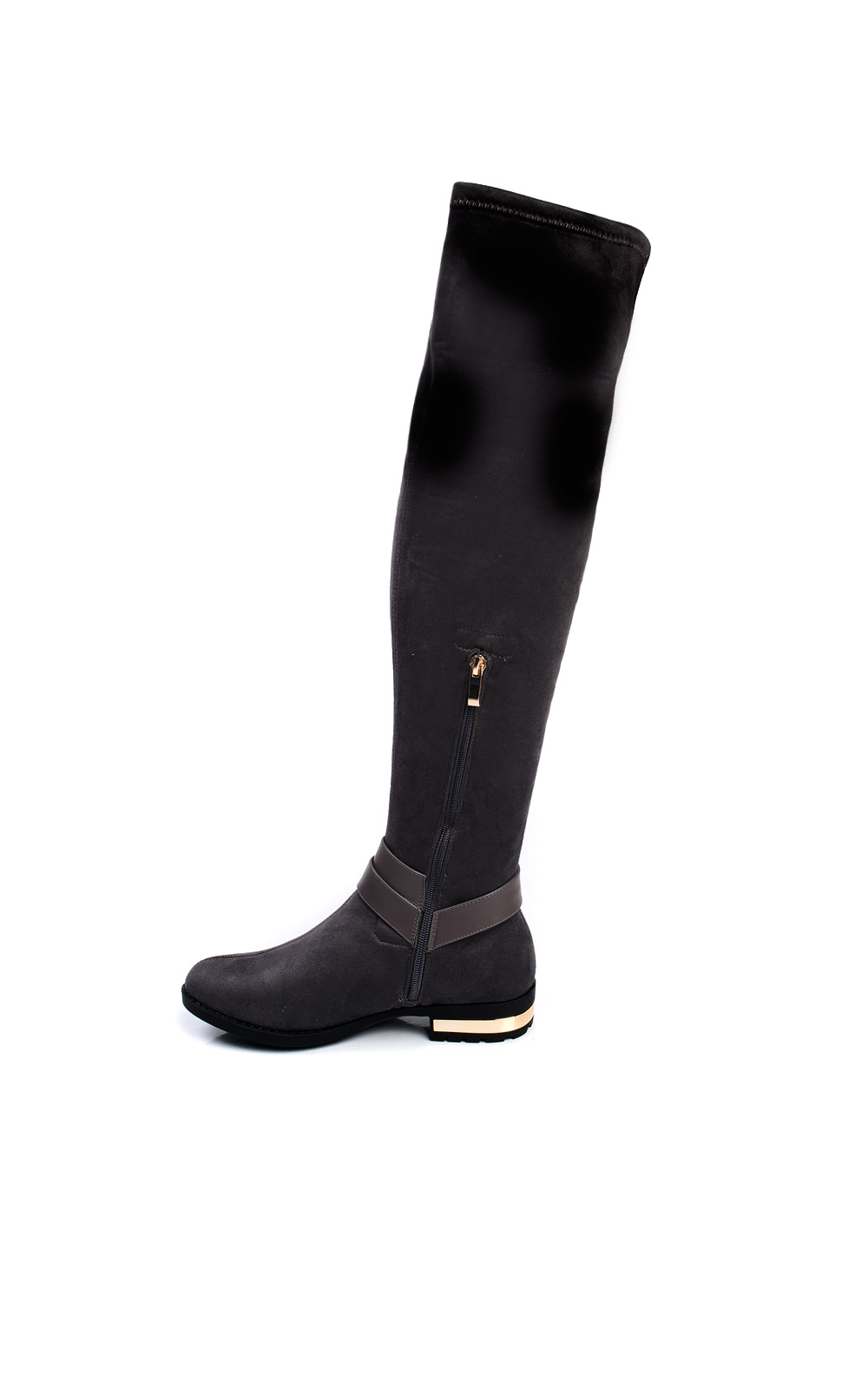 IKRUSH Womens Irena Faux Suede Gold Bar Knee High Boots