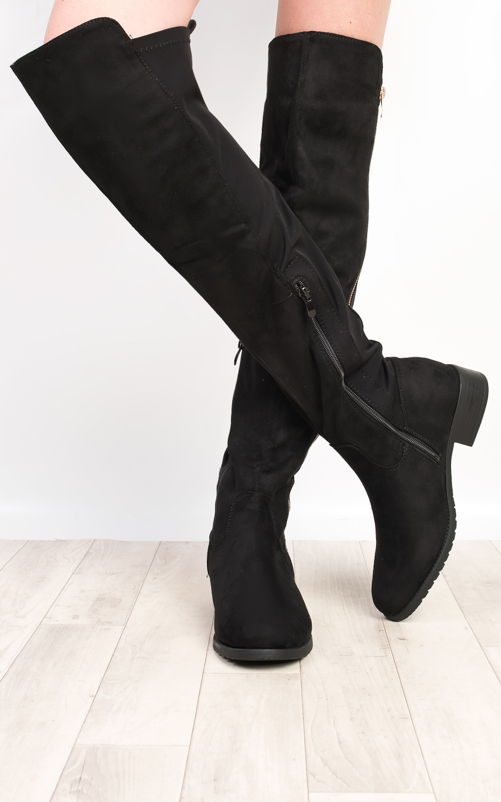 IKRUSH Womens Chelsie Faux Suede Knee High Flat Boots