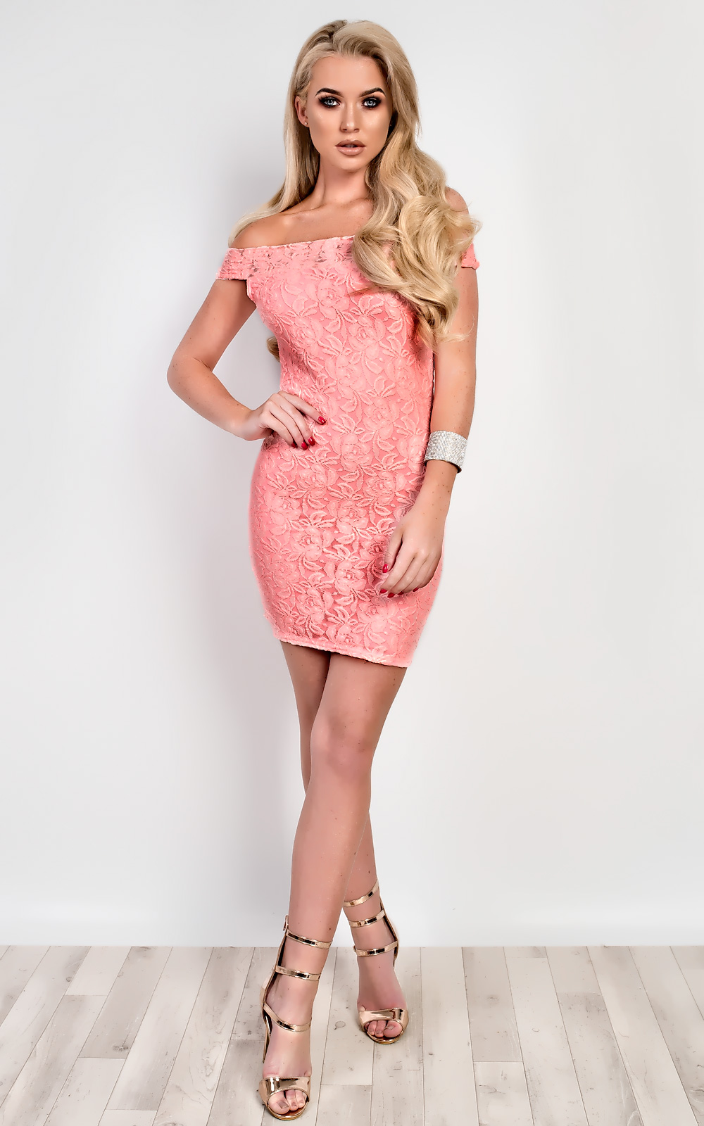 Tiana Off Shoulder Bodycon Dress in Pink