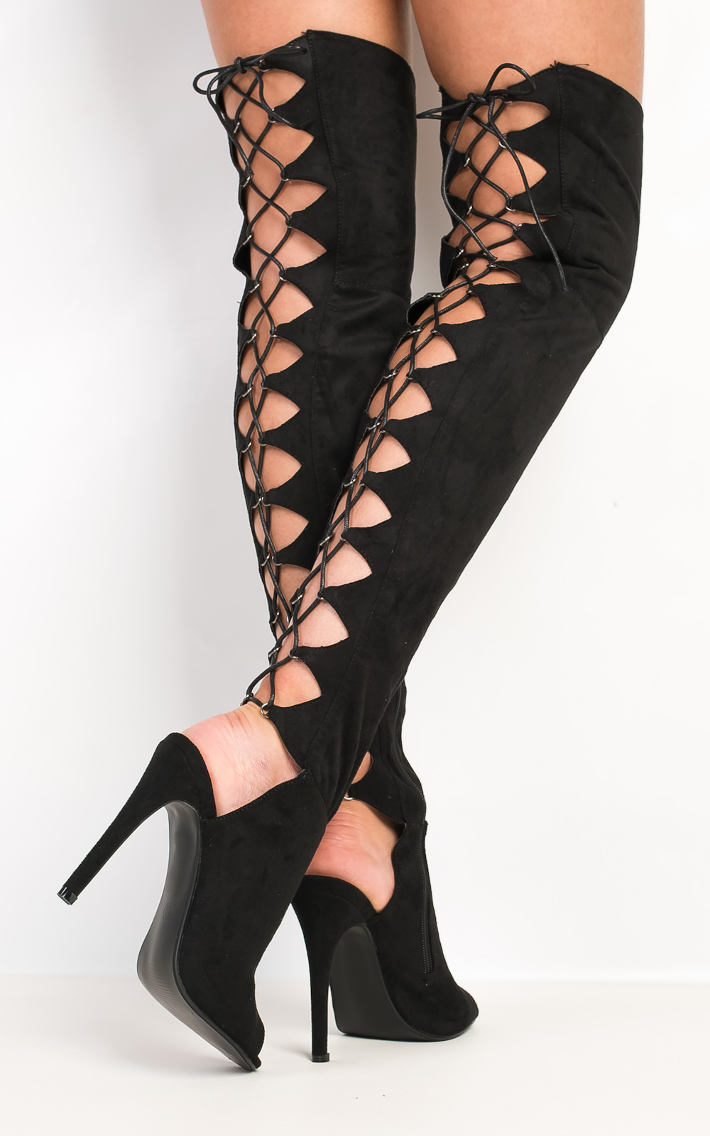 iKrush Ravelle Lace Up Knee High Boots