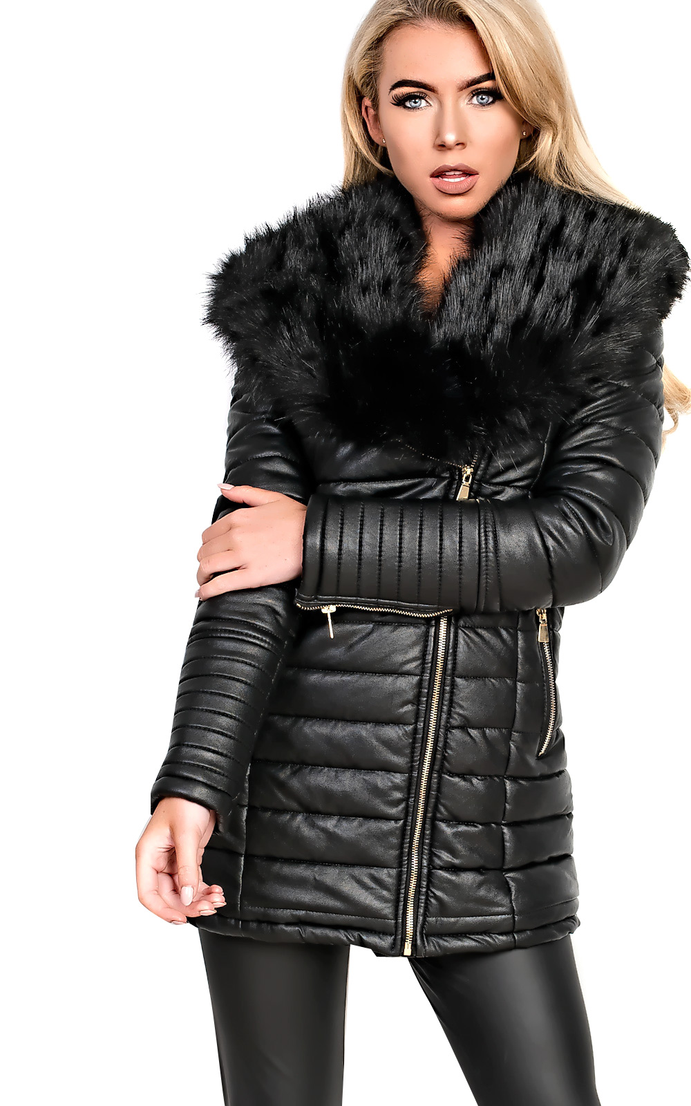 Ladies faux leather jackets