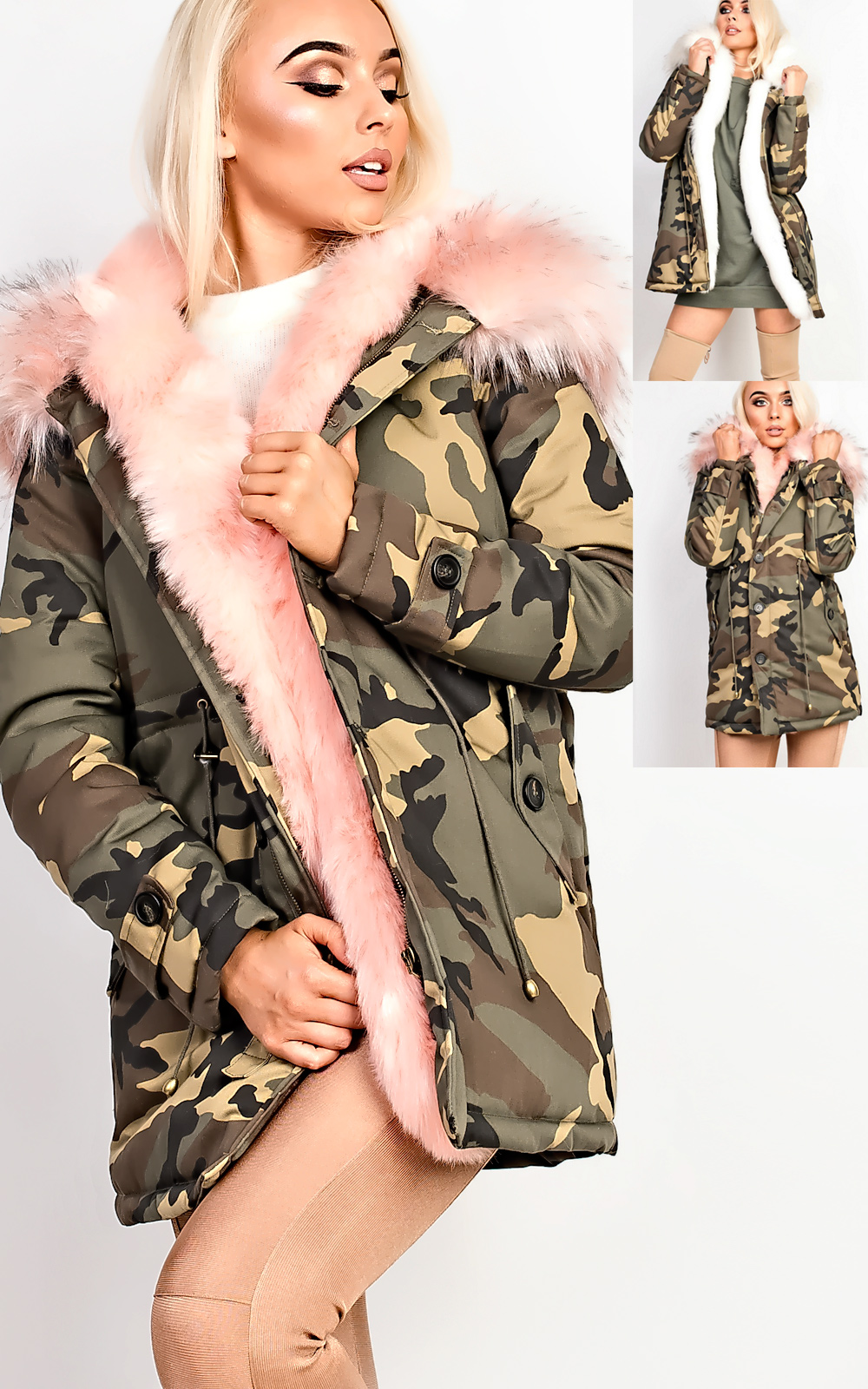 Women's Ladies STUNNING Faux Fur Lined Hooded Parka Camo Jacket L ...