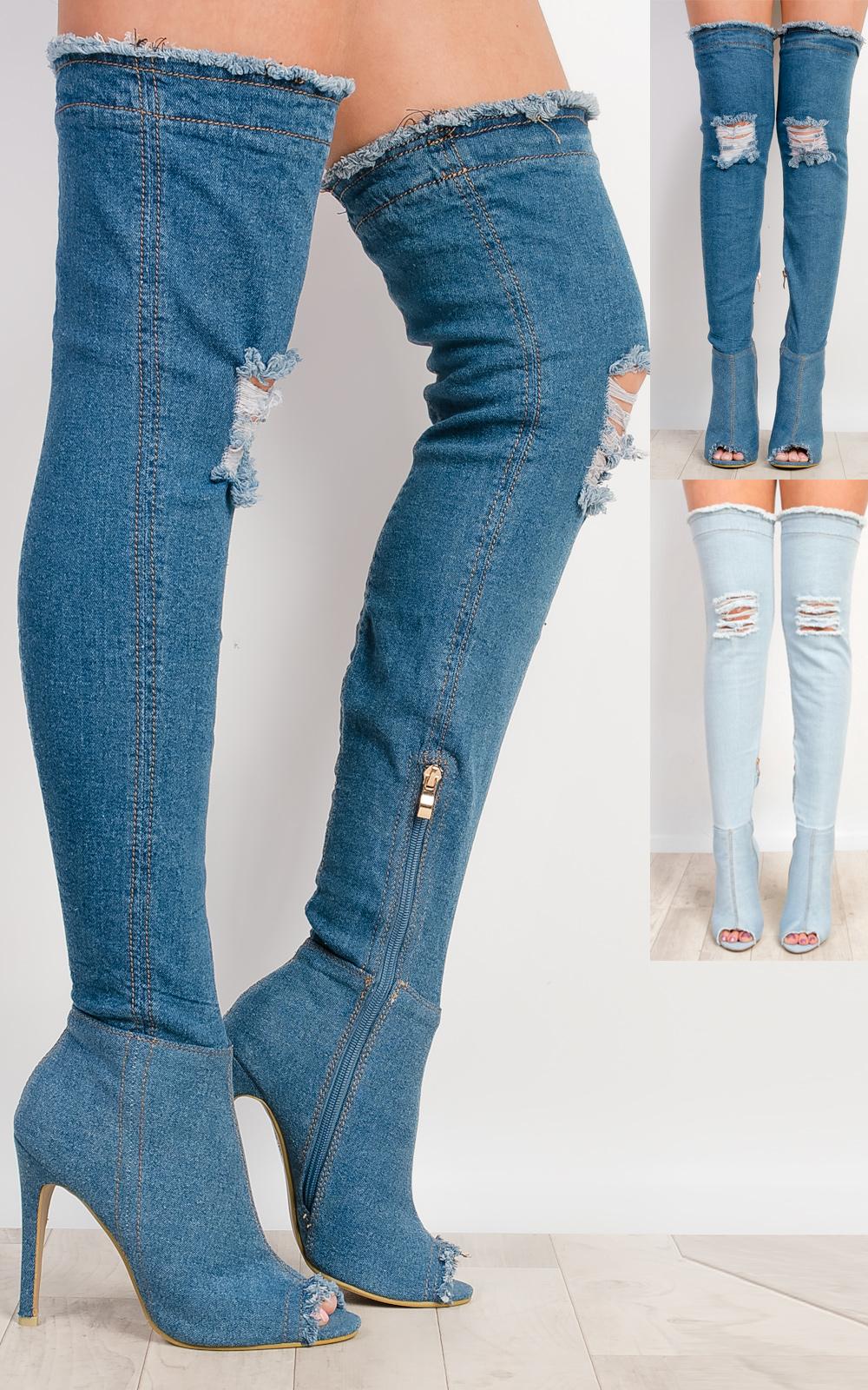 iKrush Ciara Denim Thigh High Boots