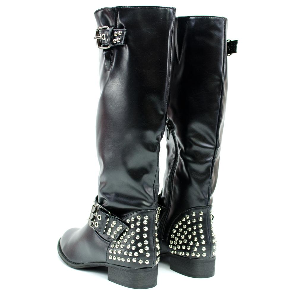 ikrush womens new black patent look studded knee