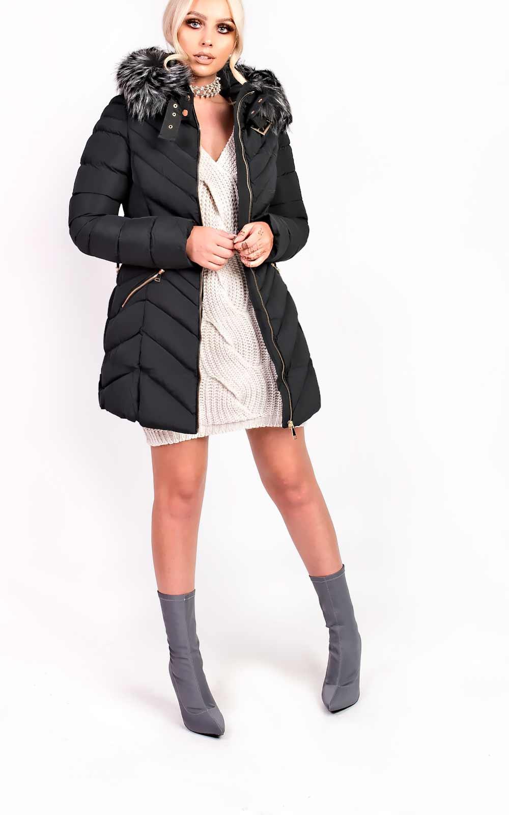 Women's Dresses & Skirts IKRUSH Womens Stella Padded Faux Fur Hooded Belted Jacket
