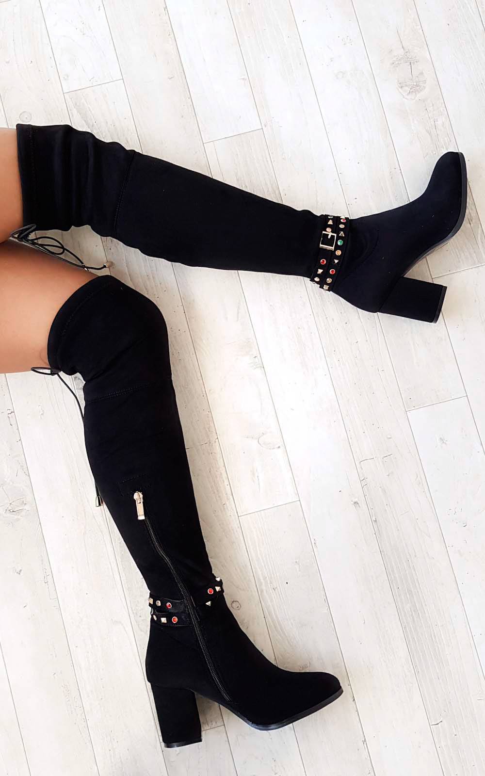 Shoes IKRUSH Womens Abigail Faux Suede Gem Studded Knee High Boots