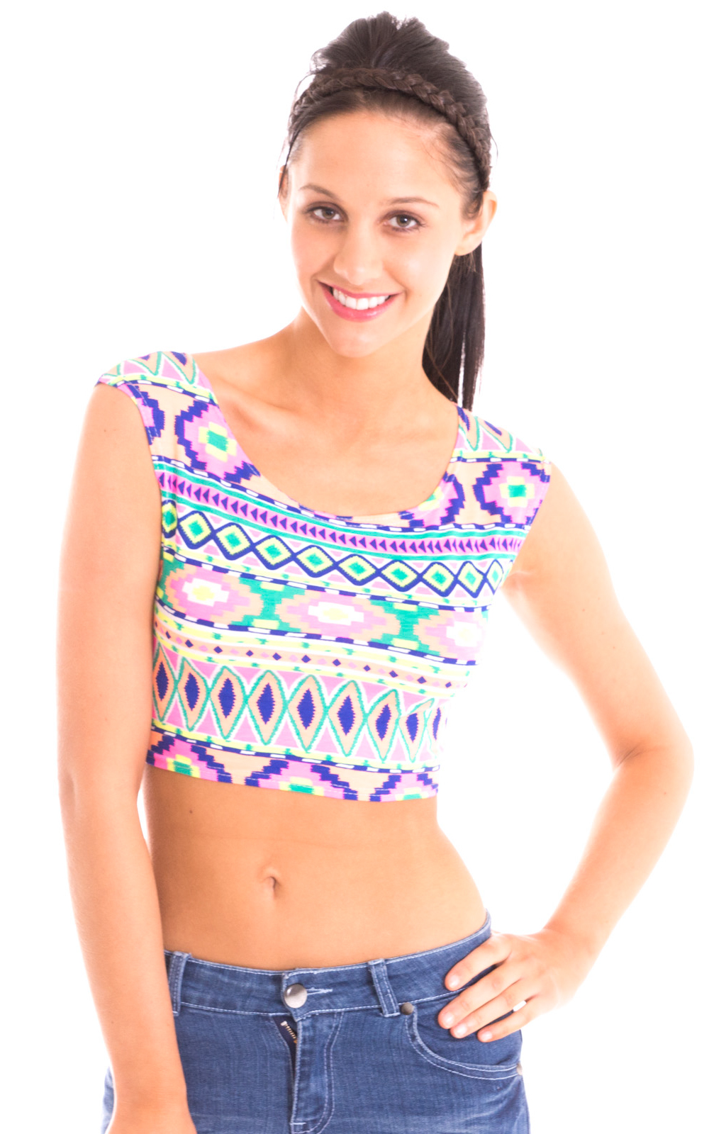 iKrush Aasia Neon Tribal Crop Top