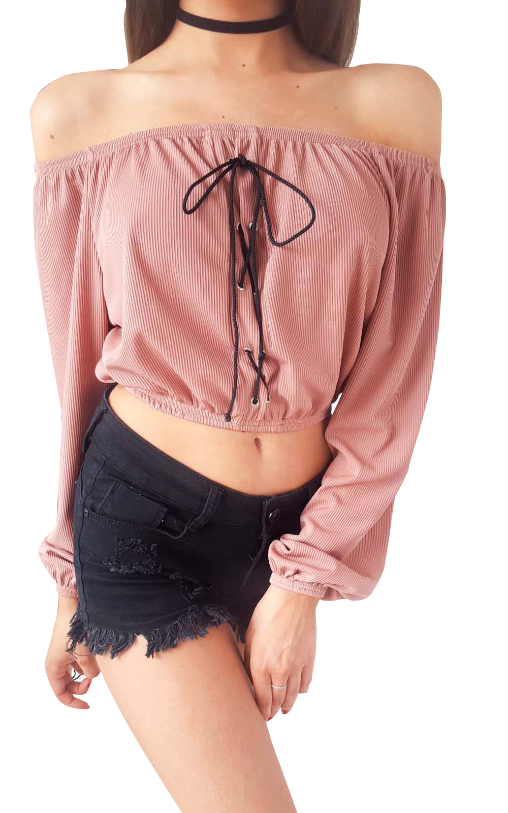 IKRUSH-Womens-Camilla-Bardot-Lace-Up-Long-Sleeve-Crop-Top