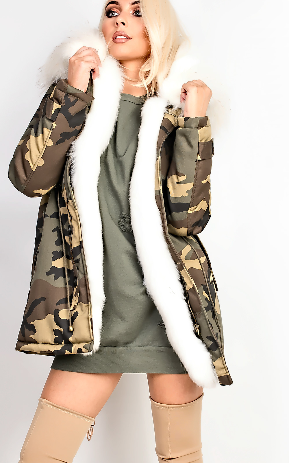 Women's Ladies STUNNING Faux Fur Lined Hooded Parka Camo Jacket L