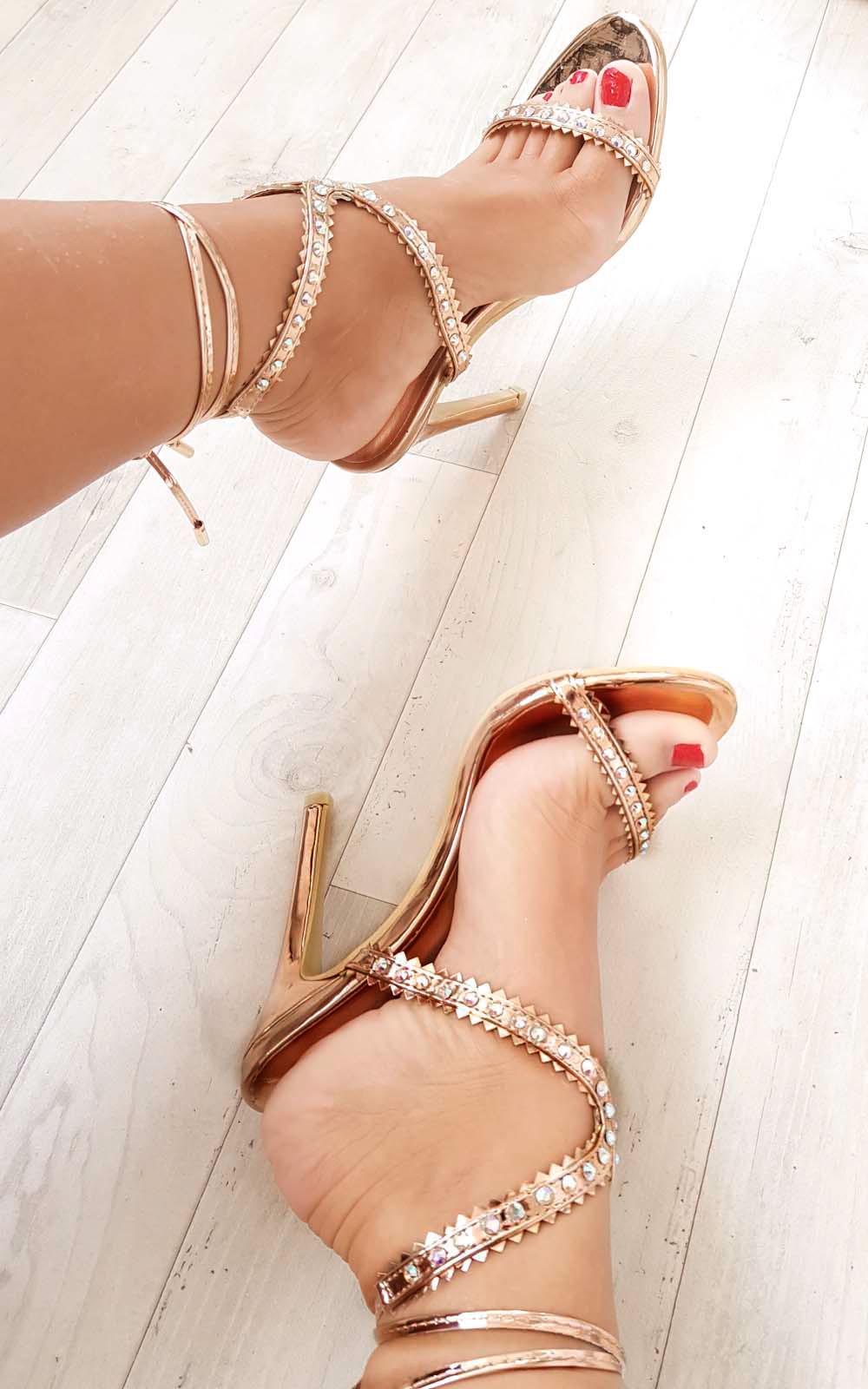 Shoes IKRUSH Womens Jana Diamante Strap Heels