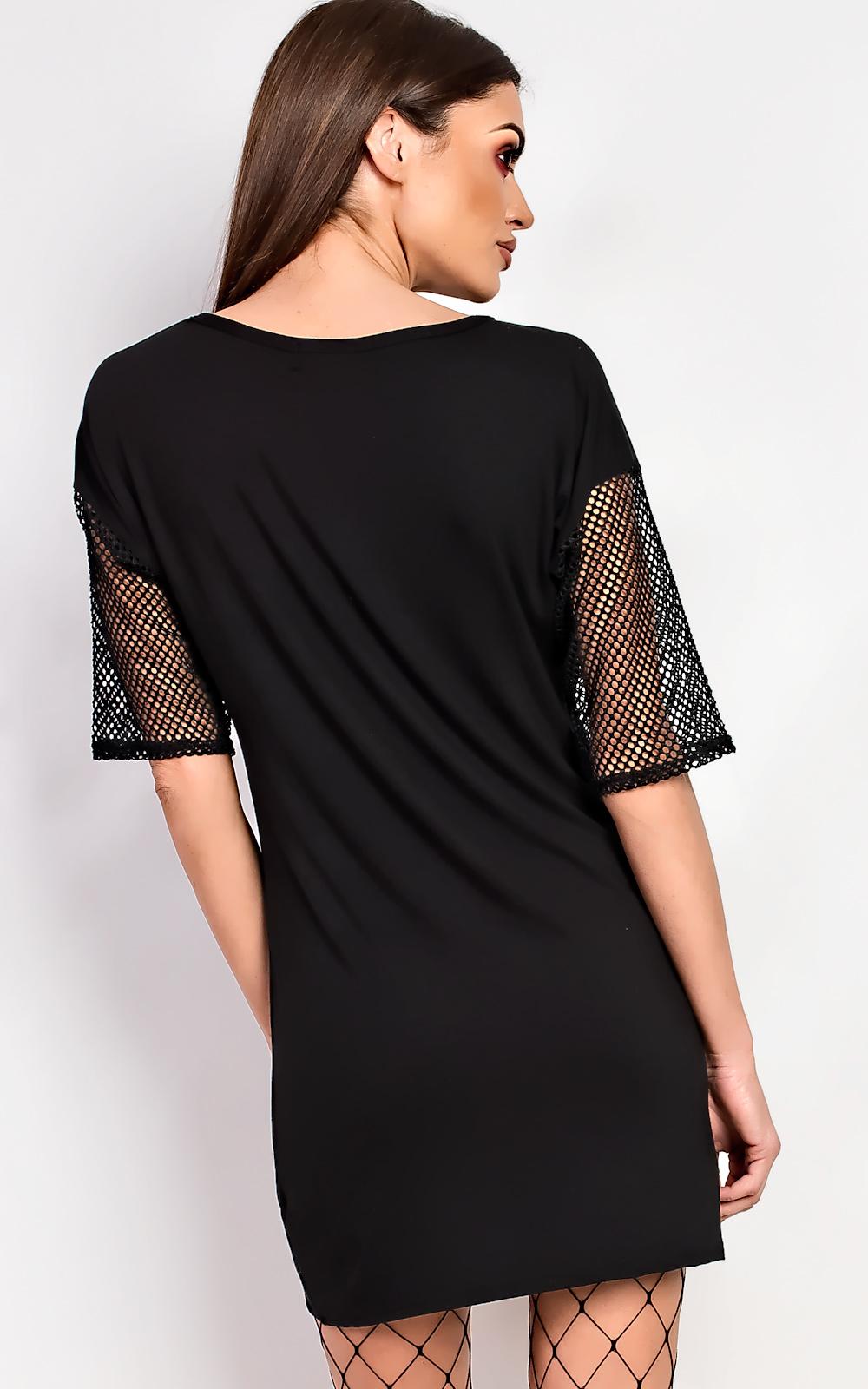 Black t shirt dress ebay - Ikrush Balay Net Detail T Shirt Dress