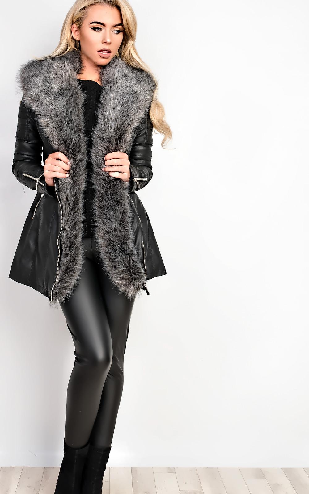 Women's Dresses & Skirts iKrush Julietta Faux Fur Leather Jacket