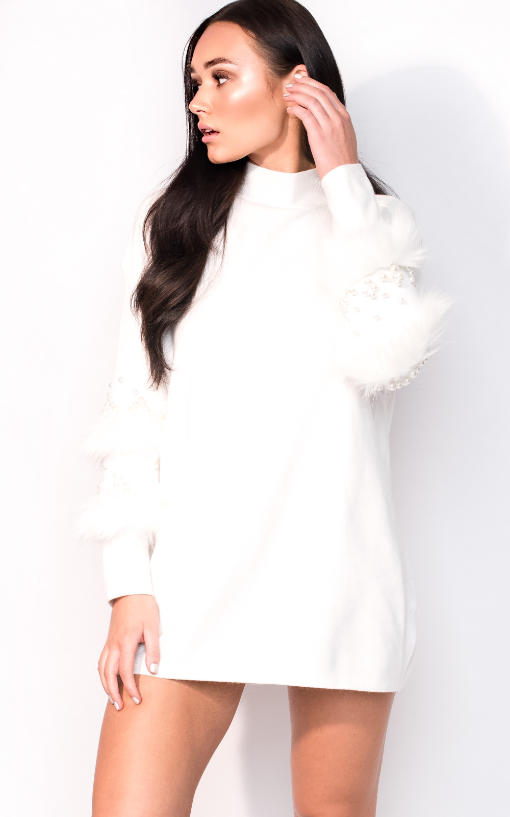 IKRUSH-Womens-Poppie-Faux-Fur-Knitted-Jumper-Dress