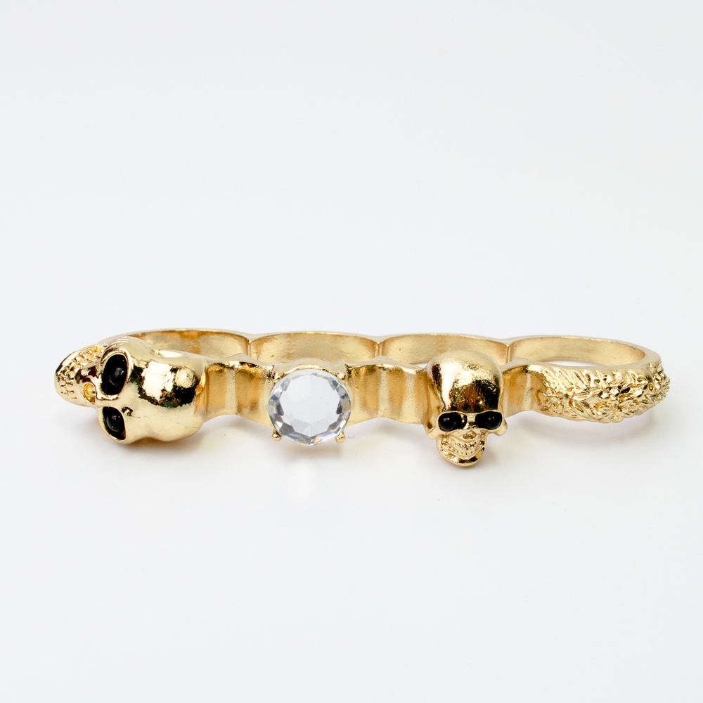 iKrush 4 Finger Skull Diamonte Ring