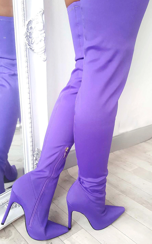 zara stretch thigh high boots in purple ikrush