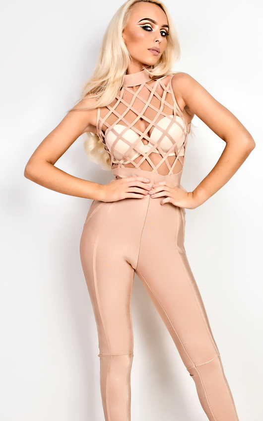 2af640a6ba Antoni Laser Cut Bandage Bodysuit in Camel   ikrush