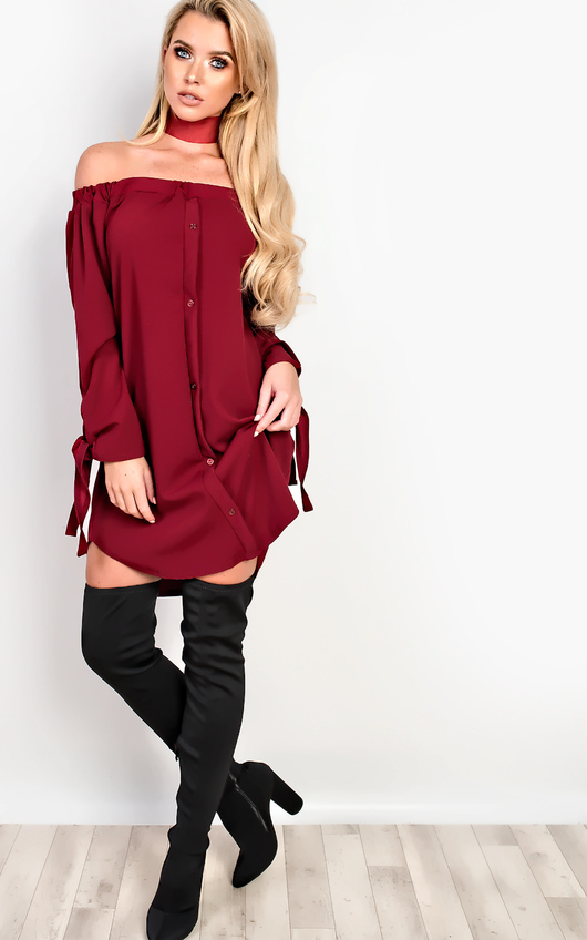 4638ec35897d Kye Off Shoulder Shirt Dress in Wine