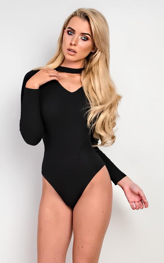 9909630c38 Jasmine Choker Neck Bodysuit in Black