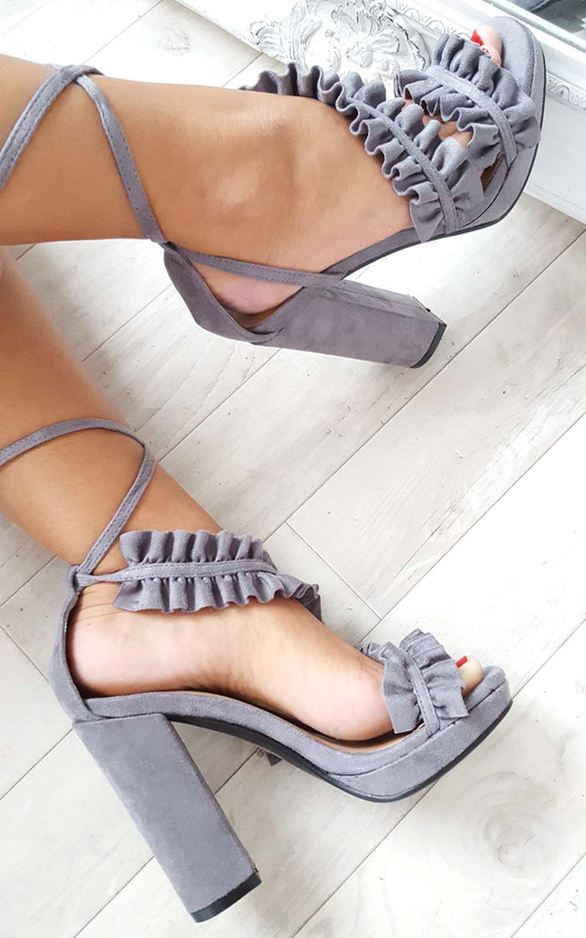 9158380dba48 Montana Faux Suede Frill Block Heels in Grey