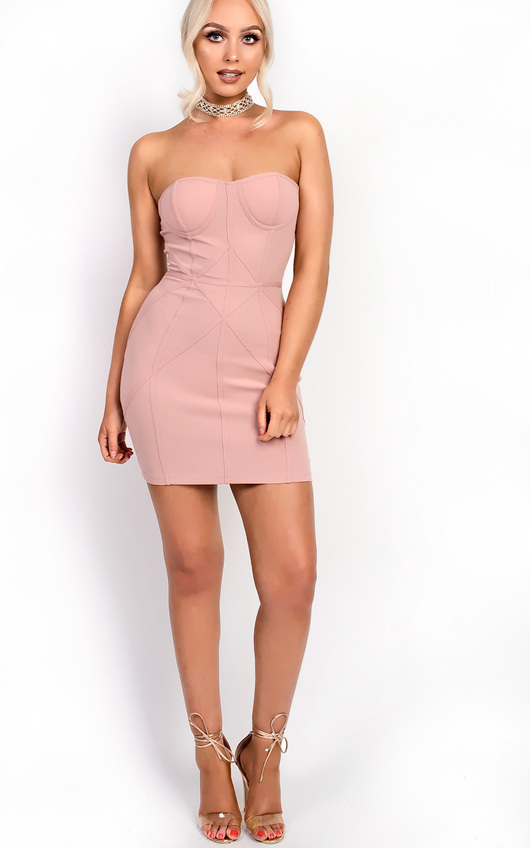 88ef00c0 Pia Panel Bandeau Bodycon Dress in Pink   ikrush