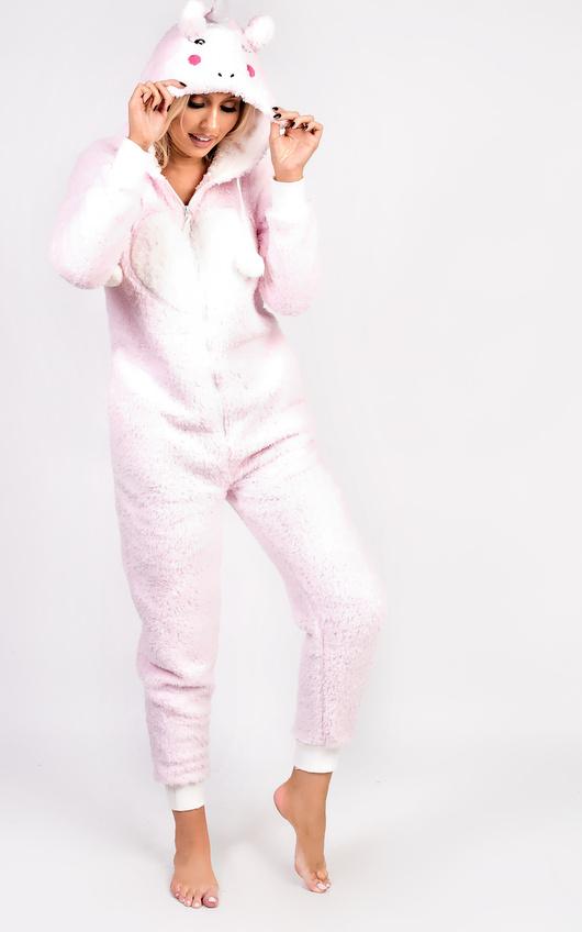 Unicorn Fleece Onesie In Pink Ikrush