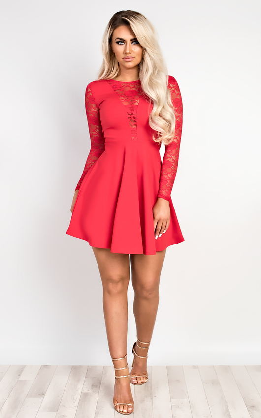 9582d9dfa6 Annest Lace Skater Dress in Red