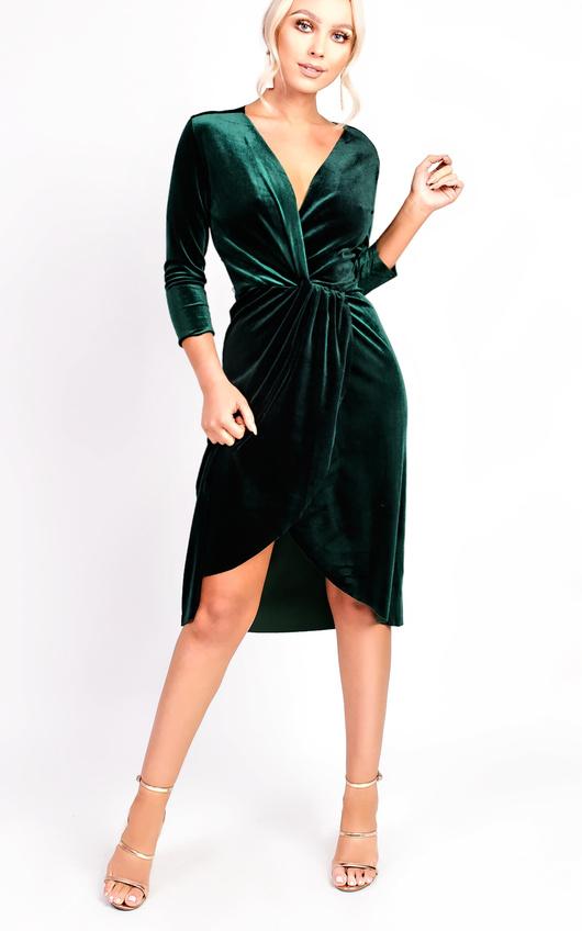 Serena Wrap Velvet Bodycon Dress In Dark Green Ikrush