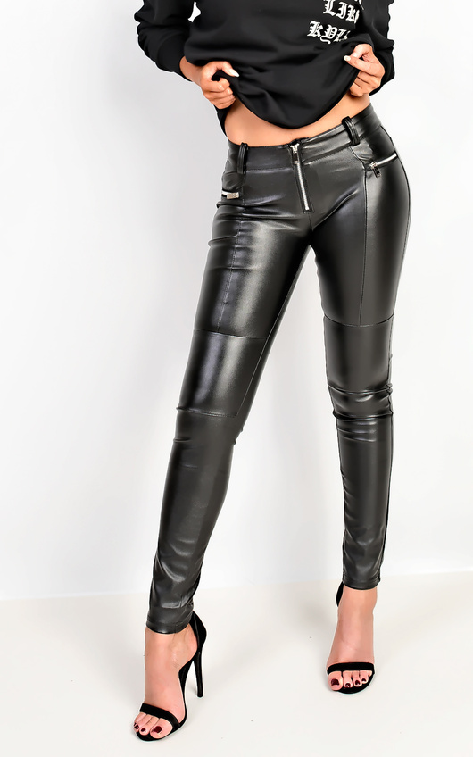 91917eb765fd3 Themis Faux Leather Trousers in Black | ikrush